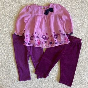 Baby girl matching shirt and pants set